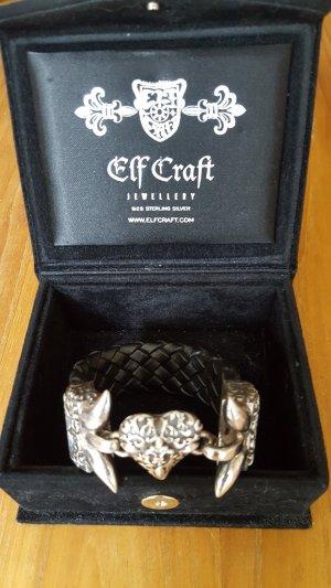 ElfCraft Leather Bracelet black-silver-colored real silver
