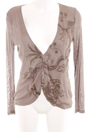 Elfenhaut Cardigan graubraun florales Muster Lingerie-Look