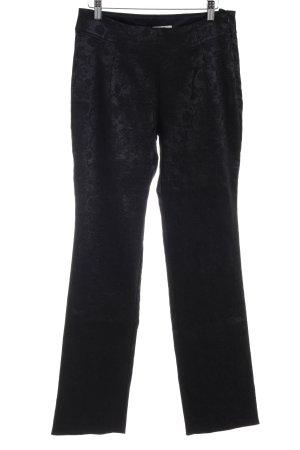 Elfenhaut High-Waist Hose schwarz florales Muster Elegant