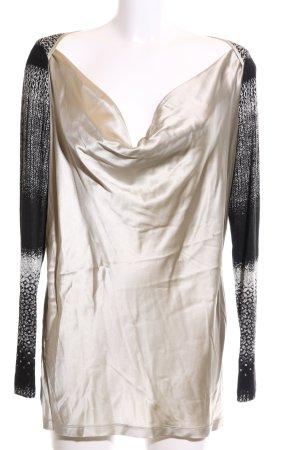 Elfenhaut Camisa con cuello caído Mezcla de patrones look casual