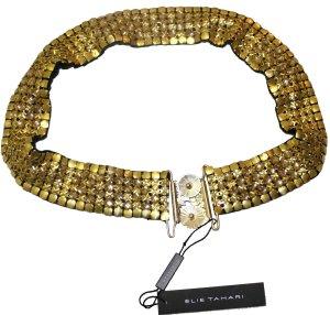 Elie Tahari, Gürtel aus Metall, goldfarbe mit Svarovski-Steinen