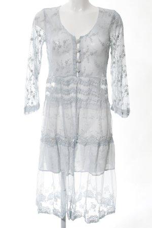 Elisa Cavaletti Kimono grigio chiaro motivo floreale elegante