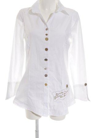 Elisa Cavaletti Langarm-Bluse weiß-goldfarben Elegant