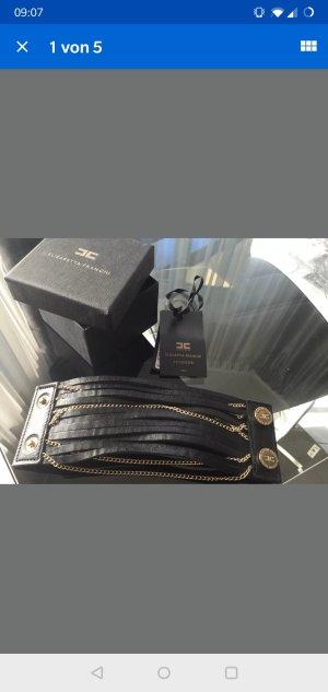Elisabetta Franchi Leather Bracelet black-gold-colored