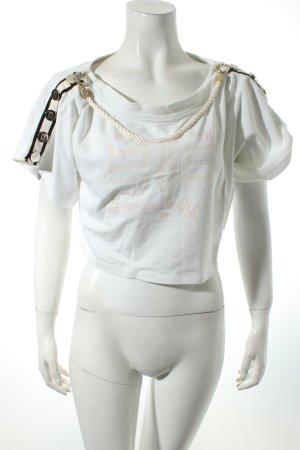 Elisabetta Franchi Cropped Shirt weiß Motivdruck Casual-Look