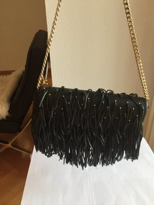 Elisabetta Franchi Fringed Bag black leather