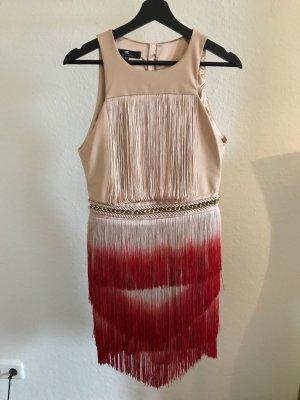 Elisabetta Franchi Vestido con flecos crema-rojo