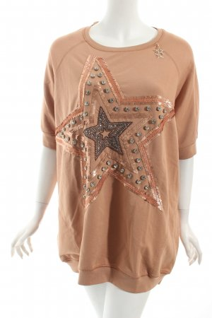 Elisabetta Franchi Short Sleeve Sweater nude star pattern casual look