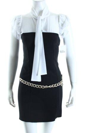 Elisabetta Franchi Minikleid schwarz-weiß Materialmix-Look