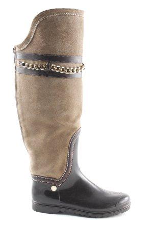 Elisabetta Franchi Botas de equitación beige-marrón-negro estilo extravagante