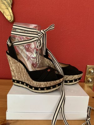 Elisabetta Franchi Wedge Sandals black-beige mixture fibre