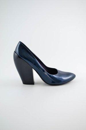 ELISANERO Damen Pumps Lack Blau Metallic Schwarz Lackleder Gr.37