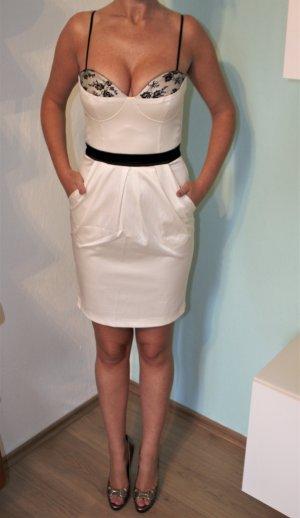 Elise Ryan Kleid weiß schwarz Satin Spitze UK10 Gr. 36 Bustierkleid