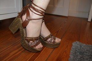 Sandalo alto con plateau multicolore Finta pelle