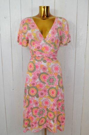 ELLA MOSS Kleid Wickelkleid Blumen Floral Rosé Pink Grün Gelb Weiss Gr. S