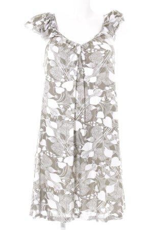 Ella Moss Minikleid weiß-graubraun florales Muster Beach-Look