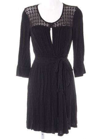 Ella Moss Robe portefeuille noir motif tricoté lâche style classique