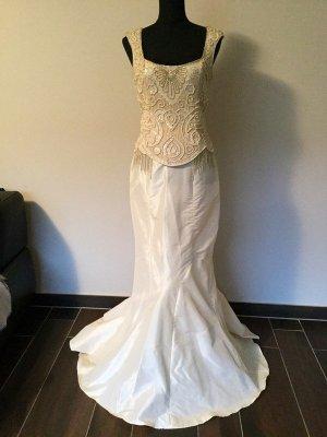 Ella Singh Abendkleid Creme Pailletten Glitzer Schärpe Tuch Meerjungfrau M Hochzeitskleid Stola