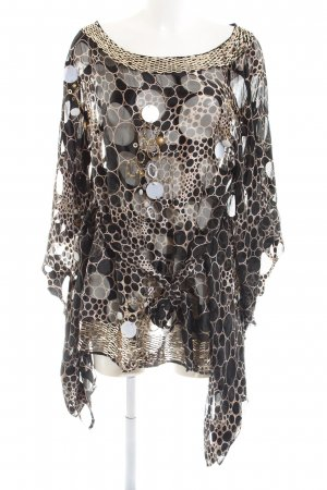 Ella Singh Seidenbluse schwarz-wollweiß abstraktes Muster Glanz-Optik