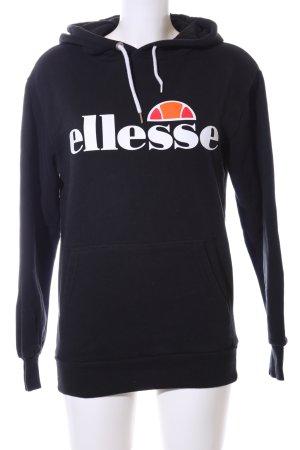 Ellesse Kapuzensweatshirt schwarz Schriftzug gedruckt schlichter Stil