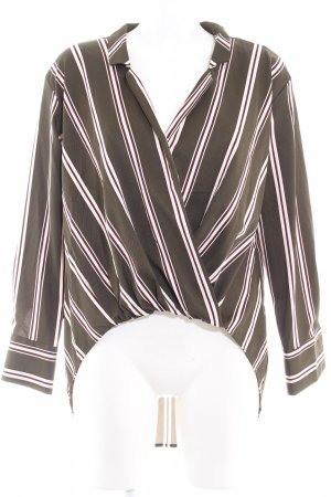 Elli White Wraparound Blouse striped pattern casual look