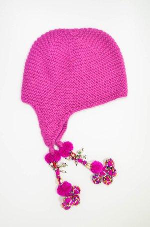 ELLIOT MANN Mütze Strickmütze Wolle Pink Bommel Perlen Bunt Etno Pompoms Hippie