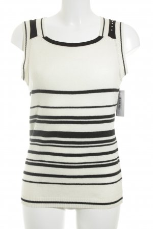 Elly Knitted Top black-natural white striped pattern casual look