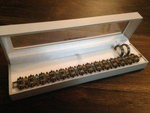 Emailliertes Armband mit Creolen im Stil des Art Deco