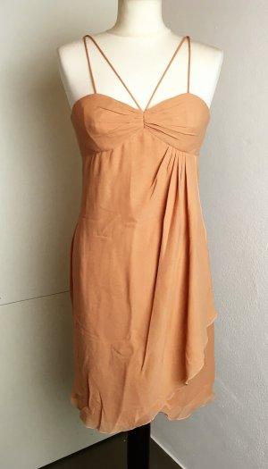 * EMANUEL UNGARO * MINI COCKTAIL KLEID SEIDE apricot nude Spaghettiträger Volant Gr 36 ( ital 42)