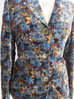 EMANUEL UNGARO PARIS Samt Blazer mit Seide Desiger Jacke Floral Gr. S 36  Viskose
