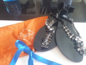 0039 Italy T-Strap Sandals black-silver-colored