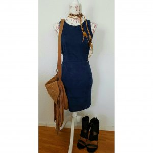 emanuelle suede love navy dress wildleder kleid rückenfrei 34/ 36