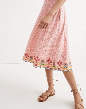 Embroidered Gingham Circle Skirt