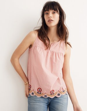 Embroidered Gingham Tank Top