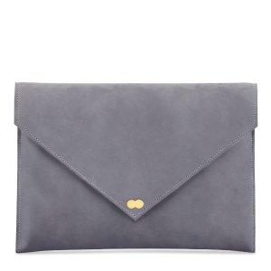 EMILIE Clutch Bag aus zartem Wildleder Grau Handtasche Leder Project OONA