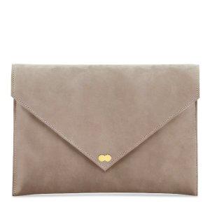 EMILIE Clutch Bag aus zartem Wildleder Taupe Beige Handtasche Leder Project OONA