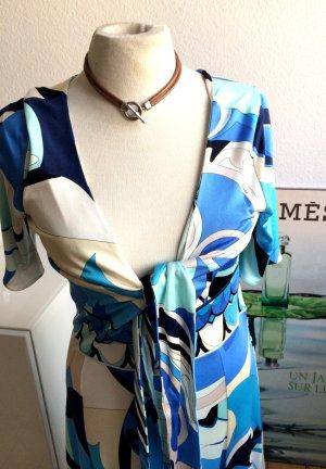 Emilio Pucci Kleid aus Seide, blau-weiss, Gr 40 (deutsch)