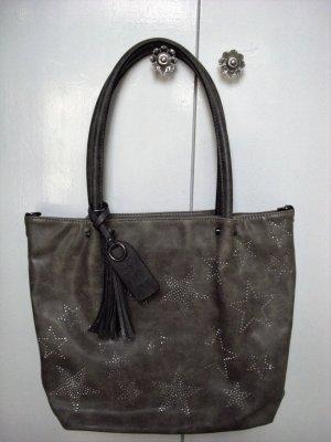 Emily & Noah XXL Bag Umhängetasche Grau mit Strass Sternen  NEU  Np 79,95