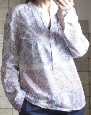 Emily van den Bergh Bluse mit Allover-Print weiß, rosa, zartrot, blau