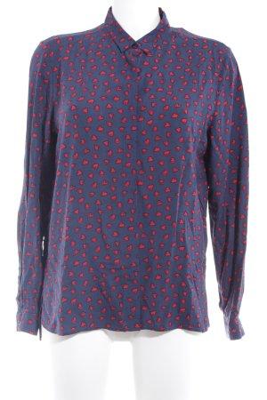 Emily van den Bergh Hemd-Bluse dunkelblau-rot Herzmuster Romantik-Look