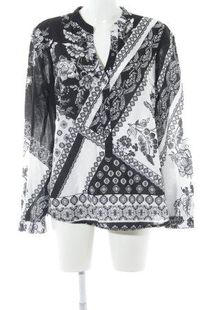 Emily van den Bergh Hemd-Bluse schwarz-weiß Blumenmuster Business-Look