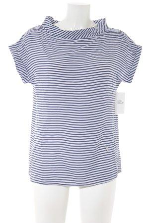 Emily van den Bergh Kurzarm-Bluse blau-weiß Streifenmuster Casual-Look