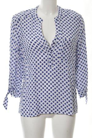 Emily van den Bergh Langarm-Bluse weiß-blau Punktemuster Casual-Look