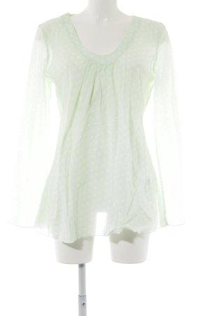 Emily van den Bergh Langarm-Bluse blassgrün-weiß Punktemuster Casual-Look