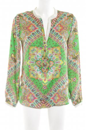 Emily van den Bergh Langarm-Bluse abstraktes Muster extravaganter Stil