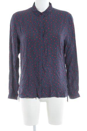 Emily van den Bergh Langarm-Bluse dunkelblau-karminrot Herzmuster Casual-Look