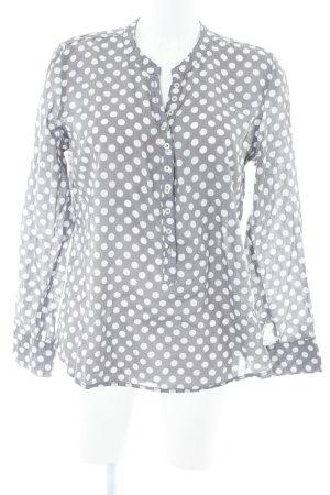 Emily van den Bergh Langarm-Bluse graubraun-wollweiß Punktemuster