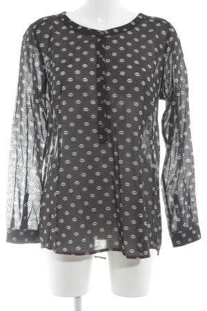Emily van den Bergh Langarm-Bluse schwarz-hellgrau abstraktes Muster Casual-Look