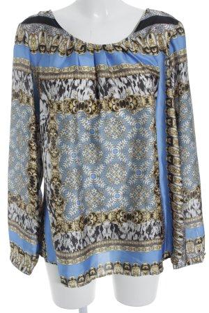 Emily van den Bergh Langarm-Bluse schwarz-stahlblau abstraktes Muster