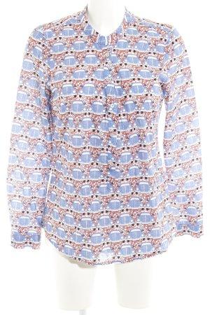Emily van den Bergh Langarm-Bluse stahlblau-dunkelorange grafisches Muster